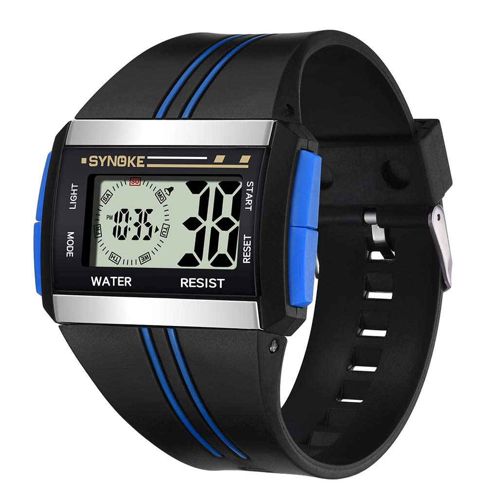 yanbirdfx Men Rectangle Luminous Backlight Sports Stopwatch Date Alarm Digital Wrist Watch - Blue