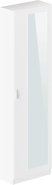 Marca Amazon -Movian Indre Modern - Armario zapatero de 1 puerta con espejo, 23 x 50 x 179 cm (blanco)