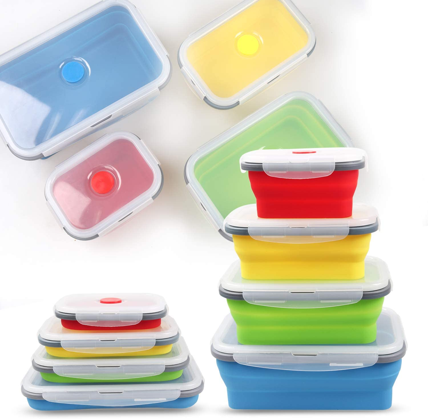 Collapsible Silicone Food Storage Container, Rectangle with Lids Prep Lunch Container, Portable Bento Lunch Boxes, Easy Cleaning, BPA Free, Microwave, Dishwasher Safe(4 Pack)