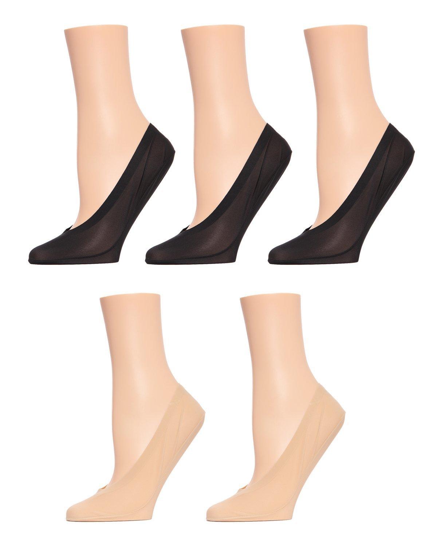 MeMoi Cotton Fine Edge Liner 5 Pair Pack Black/Nude MP049 One Size