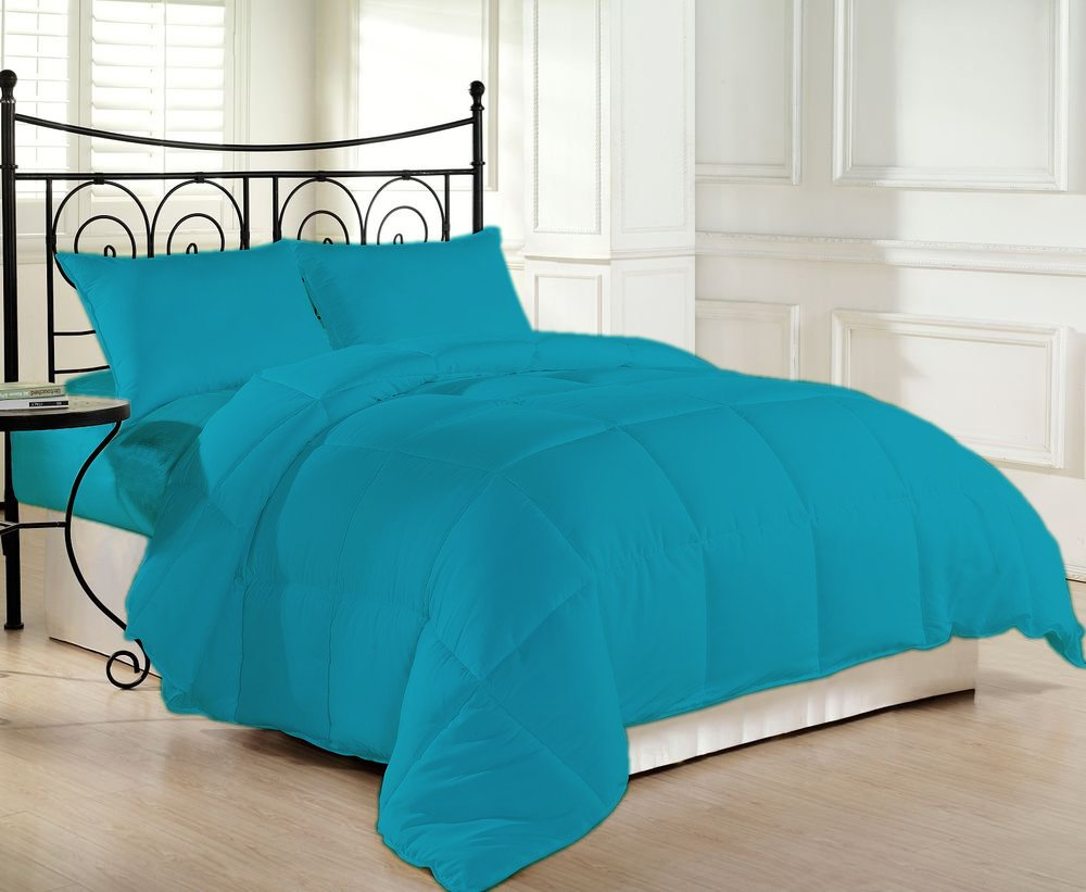 COMFORTER Down Alternative 200 GSM Microfiber Fill Light Weight 1200 Thread Count 1 Piece Hypoallergenic 100% Egyptian Cotton Solid by BED ALTER (Turquoise Blue, Queen)