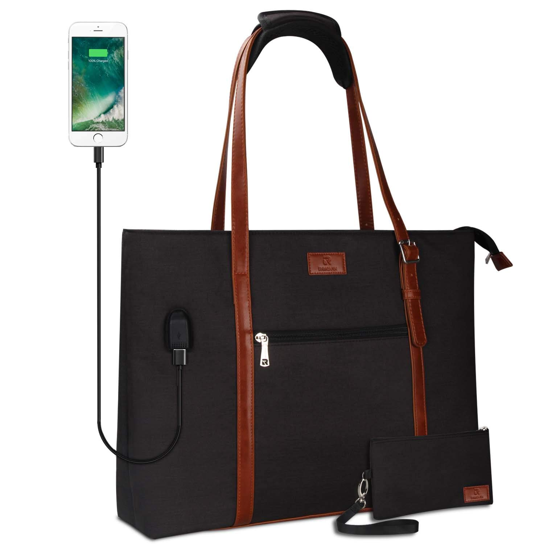 USB Laptop Tote Bag,Large Woman Work Bag Purse Teacher Bag Fits 15 Inch Laptop (Pro- Black) by TANTO