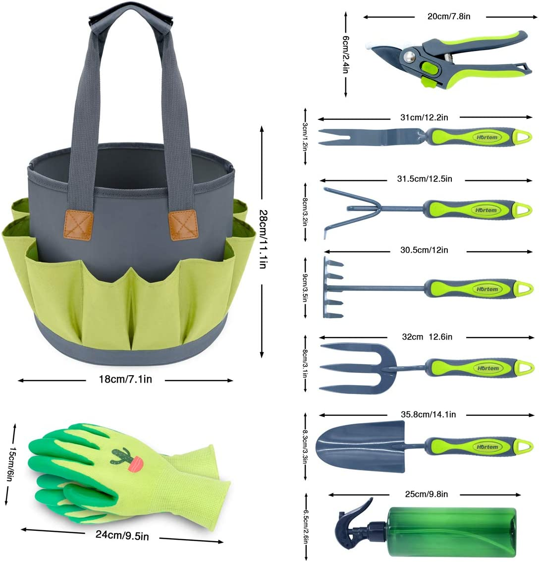 Hortem Gardening Tools Set, Heavy Duty 9 PCS Garden Kit Include Hand Tools, Pruners and Other Gardening Accessories as Gardening Gifts for Women and Men