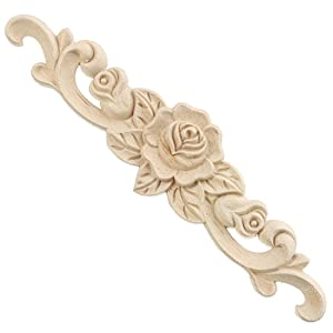 Enerhu 1 Piece Rubber Wood Carved Applique Onlay Unpainted Flower Buds Home Furniture Decoration S(7.87by1.97inch)