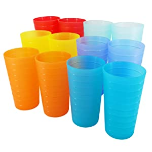 22-ounce Plastic Tumblers Unbreakable BPA Free Dishwasher Safe Set of 12 in Multi Colors Reusable Drinking Cups