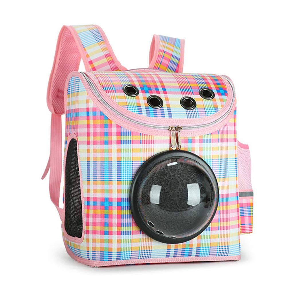 Cat and Dog Portable Pet Backpack PU Space Bag Travel Travel Transparent Breathable,Pink,19 * 31 * 37cm