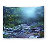 WSHINE Forest Wall Tapestry Stream Stone Tapestries Rainforest Home Decortion Children's Room Decor Blanket