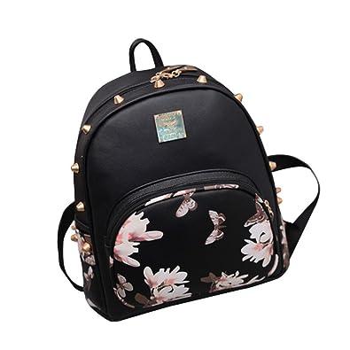 Amazon.com  Women Girl Mini Ipad Floral Backpack Fashion Lightweight Rucksack  Backpack Cute Daypack Shoulder Satchel Bag (Black 1)  Shoes 4767e11d349d9