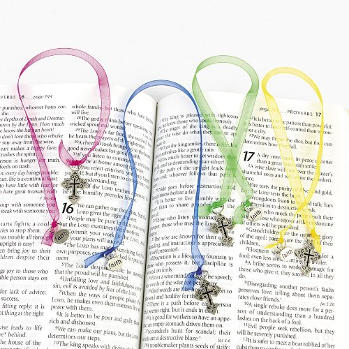 Ornate Cross Ribbon Bookmarks dozen