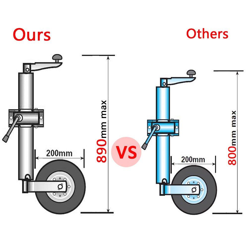 Weight Capacity 881.8 lbs Greensen Jockey Wheel Heavy Duty Jockey Wheel With Clamp for Car Trailer Caravan 48 mm