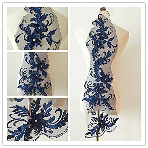 (3D beaded flower sequence lace applique motif sewing bridal wedding 3in1 20cmx72cm (Navy))