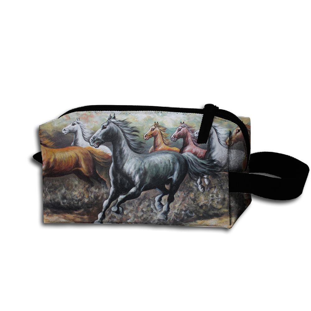 Makeup Cosmetic Bag Eight Fine Horses Painting Medicine Bag Zip Travel Portable Storage Pouch For Mens Womens by Homlife (Image #1)
