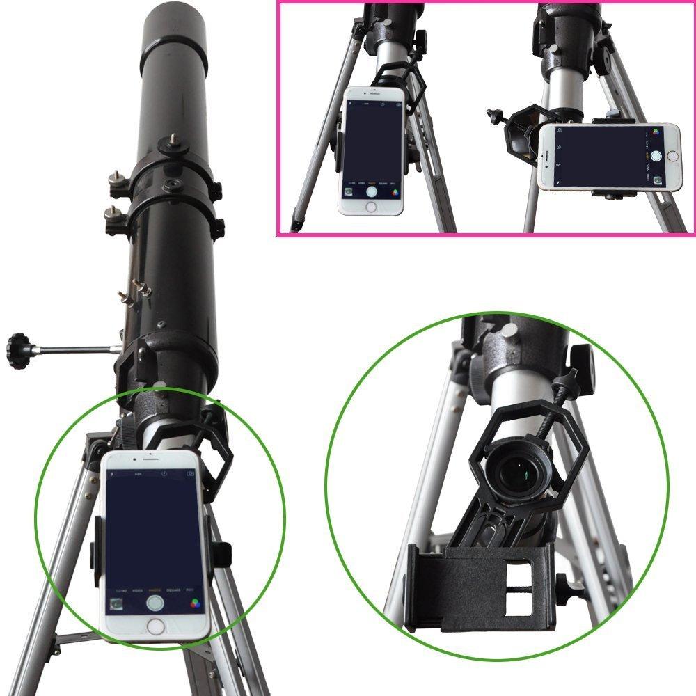 telescopio prism/áticos /para Smartphone ancho 28/mm-47/mm/ y Monocular microscopio/ /Grabar la natur /Compatible con telescopio Universal tel/éfono m/óvil soporte de adaptador/