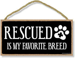 Honey Dew Gifts Rescued is My Favorite Breed 5 inch by 10 inch Pet Rescue Gifts, Wall Art, Decorative Wood Sign, Home Decor
