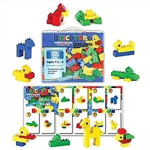 [55 Pieces] Compatible Large Building Block Toys by Brickyard, For Children Ages 1.5 - 5, Fits Duplo Blocks - Bulk Block Set