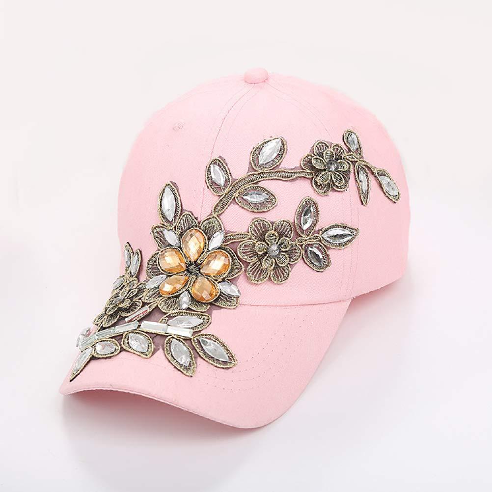 Women Diamond Flower Baseball Cap Snapback Adjustable Streetwear Cotton Denim Caps