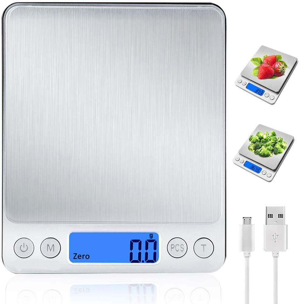 Báscula Digital para Cocina con Carga USB, Balanza de Alimentos Multifuncional Alta Precisión(3 kg-0.1g/0.01oz)Peso de cocina Electrónica con LCD ...