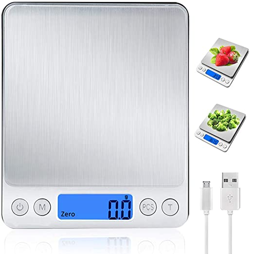 Báscula Digital para Cocina con Carga USB,Balanza de Alimentos Multifuncional Alta Precisión(3 kg-0.1g/0.01oz)Peso de cocina Electrónica con LCD ...