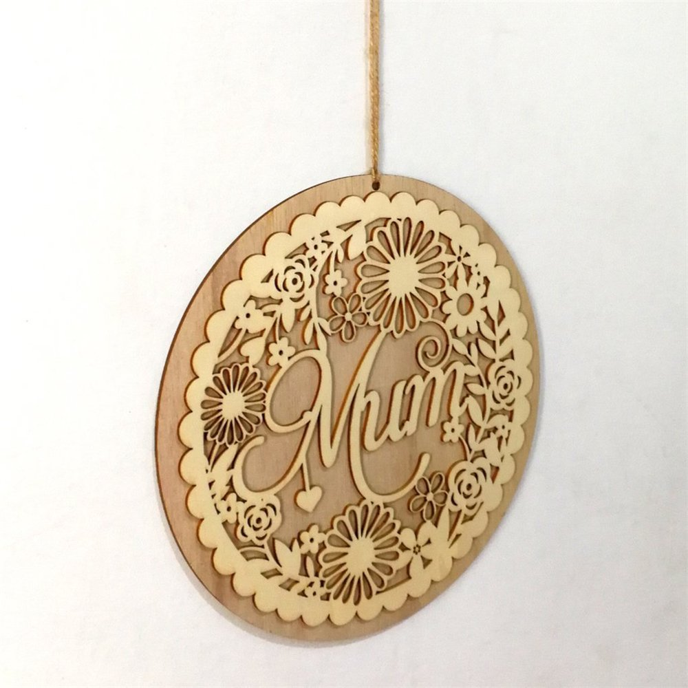 Wooden Hollow Out Mum Hanging Board Round Circle Mother's Day Gift Plank Hanging Plaque Wall Wood Sign Craft Decor Pendant by sd finger (Image #5)