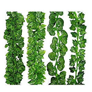 12 pcs 78inch Artificial Hanging Flowers Plants Green Leaves Decoration Garden Wall Decoration for Wedding Kitchen 5