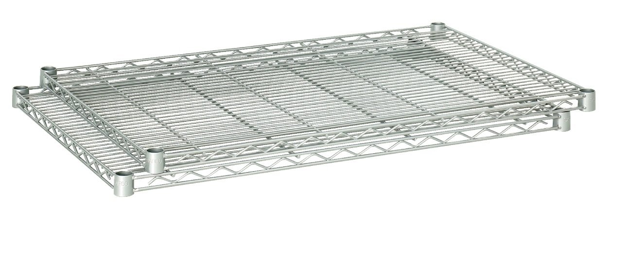 Safco Products 5287GR Industrial Wire Shelving Extra Shelf Pack 36''W x 18''D (Starter and Add-On Units sold separately), (Qty. 2), Metallic Gray