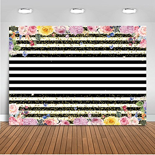 (Mehofoto Black and White Stripes Backdrop God Dots Floral Photography Background 7x5ft Vinyl Wedding Birthday Party Banner Tablecloth Backdrops)