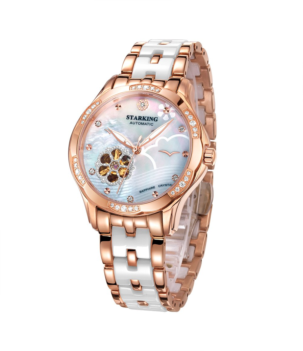 STARKING Ceramic Watch Self Winding Automatic Sapphire AL0231 Mother of Pearl Rose Gold Stainless Steel Band Luminous Hands