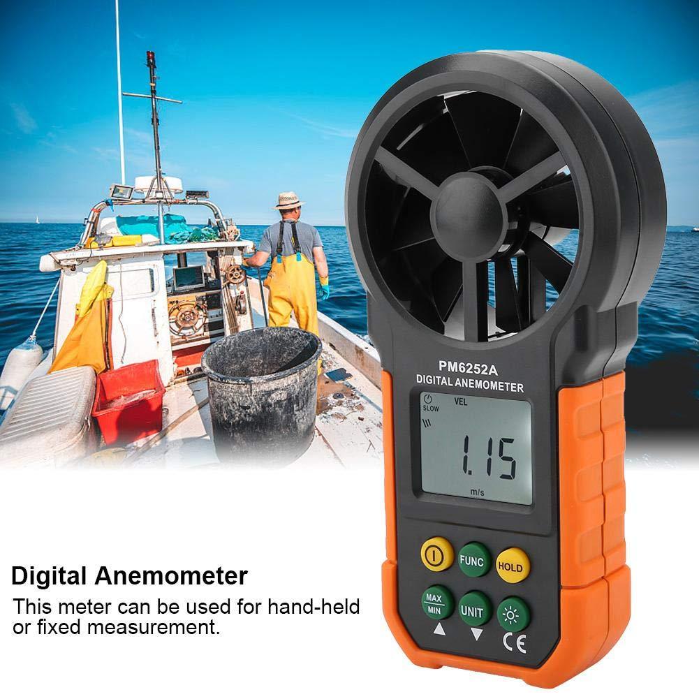 PM6252A Misuratore di Velocit/à del Vento Digitale Portatile Misuratore di Volume dAria Professionale con Indicatore di Batteria