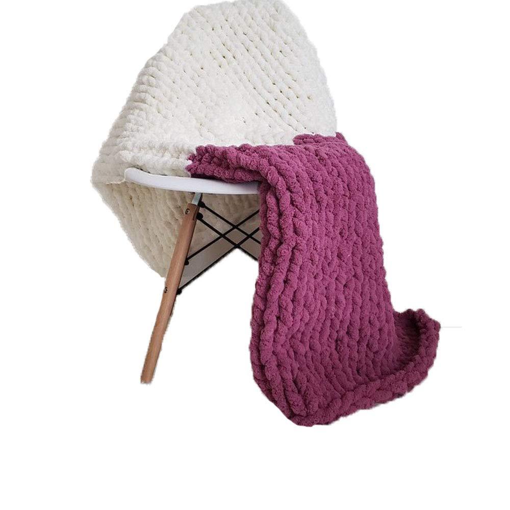 Giant Knit Chenille Blanket Throw Hand Knit Fluffy Blanket Plum&CreamWhite Hand Knitted Blanket for Family Xmas Gift