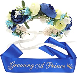 """Growing A Prince"" Sash & Flower Crown Kit - Little Prince Baby Shower It's A Boy Royal Prince Gift (Royal Blue)"