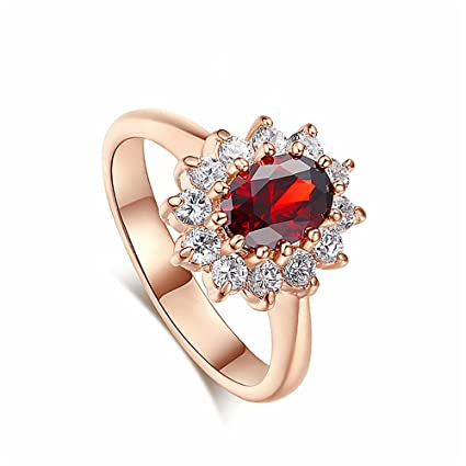 e42c67a70d Elegant Oval Created Blue Sapphire Ruby Cubic Zirconia Halo Pave Band Ring  Engagement Wedding Rings For Women (Red & Gold, 9): Musical Instruments