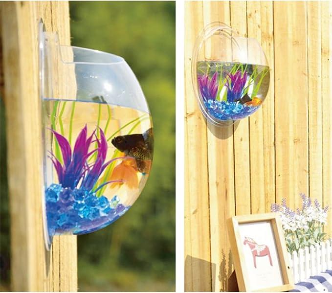 Yooyoo Creative Acrylic Hanging Wall Mount Fish Tank Bowl Vase Aquarium Plant Pot Bowl Bubble Aquarium Decor 11.6 inches