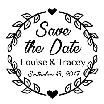amazon save the date wedding invitation stamp leaf and heart