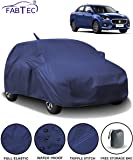 Fabtec Waterproof Car Body Cover for Maruti Swift Dzire (2017-2019) with Mirror Antenna Pocket & Storage Bag Combo (Navy Blue)