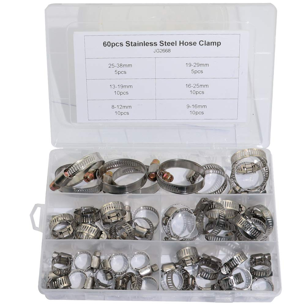 Boeray Hose Clamp, 60 pcs Stainless Steel Adjustable 8-38mm Range Worm Gear Hose Clamp, Miniature Power-Seal Fuel Line Clamp Kit