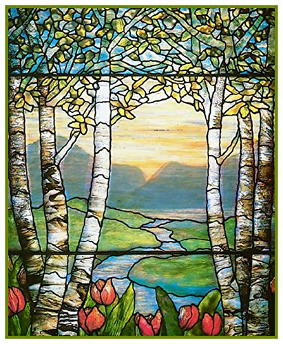 Birch Glass Waterfall (Tulip Flowers and Birch Trees detail inspired by Louis Comfort Tiffany Counted Cross Stitch Pattern)