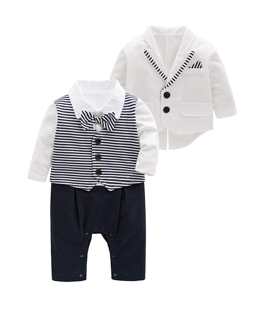 Mays Baby Boys Blazer Long Sleeves Gentleman Romper with Bowtie Outfit 2 Pieces Sets