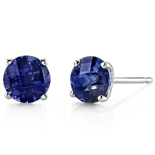 674fe3bd0c2a24 14 Karat White Gold Round Cut 2.25 Carats Created Blue Sapphire Stud  Earrings