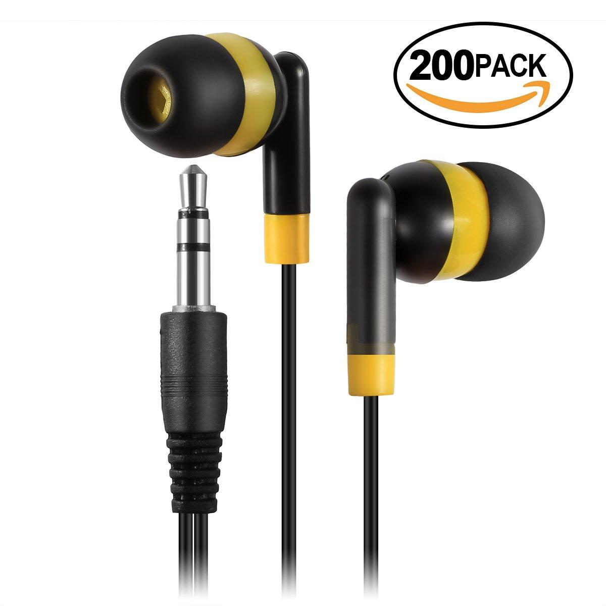 Keewonda Earphones Bulk Earbuds Headphones - 200 Pack Ear Buds Kids Bulk Headphones Wholesale Disposable Earbuds for School Classroom Students (Black/Yellow) by Keewonda