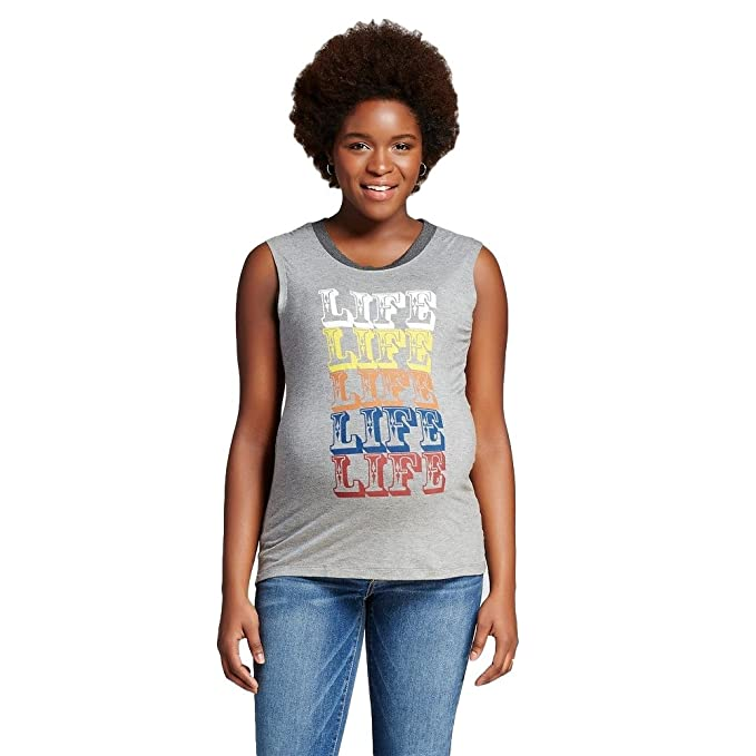 2d2aab974 Maternity Muscle Tee from Expected by Lilac (Small, Grey Graphic Print)