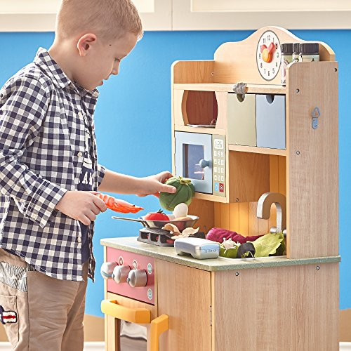 Teamson Kids - Little Chef Florence Classic Kids Play Kitchen | Toddler Pretend Play Set with Accessaries - Wood Grain
