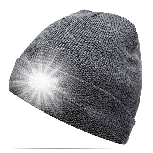 Ultra Bright 5 LED Beanie Cap/Hat Hands Free Unisex Lighted Stocking Cap Perfect Hands Free Flashlight For Camping,Hiking,Hunting,Fishing,Jogging,Construction or Just For Fun One Size Fits Most (Grey)