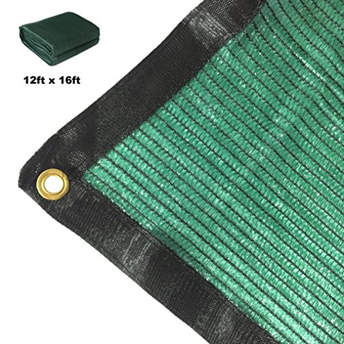 16' Garden (Didaoffle 70% Sunblock Shade Net Green UV Resistant, Premium Heavy Duty Mesh Tarp, Top Shade Cloth Quality Panel for Garden, Flowers, Plants, Patio Lawn, Customized Sizes Available (12ft x 16ft))