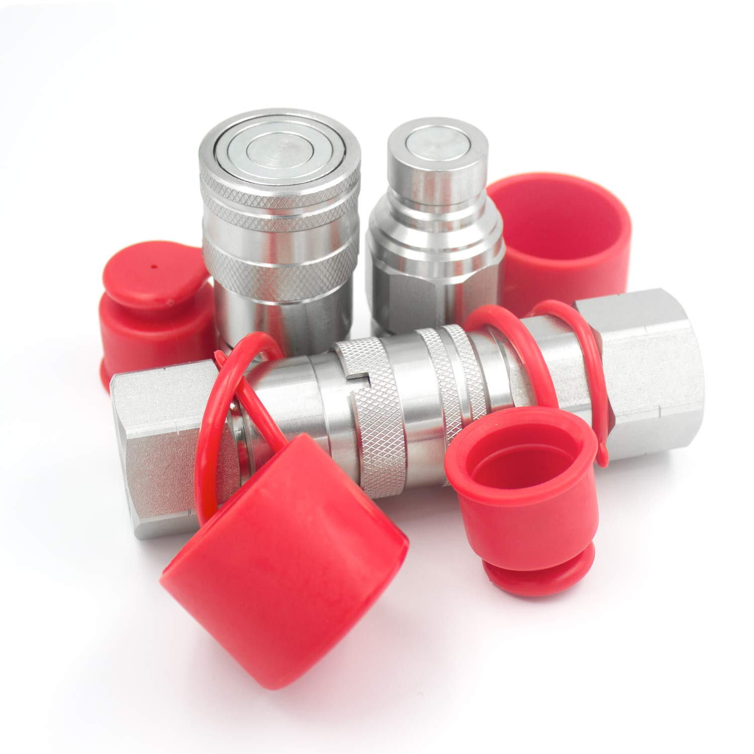 2 Sets 3/4'' NPT Thread 1/2'' Body Size ISO16028 Flat Face Skid Steer Loader Quick Connector Coupler Coupling with Dust Caps by AKJIA Electronics