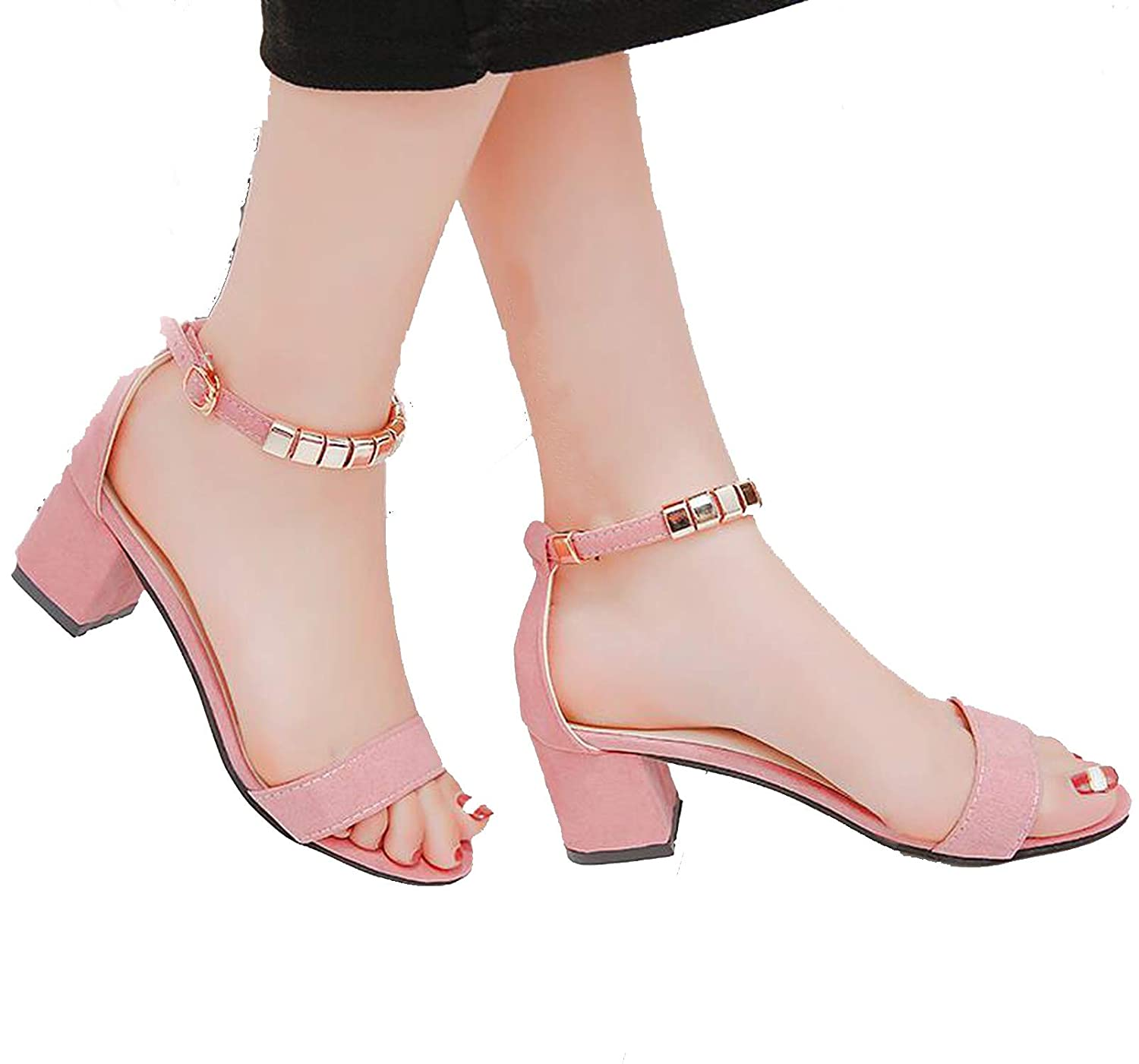 Details about Metal String Bead Summer Women Sandals Open Toe shoes Square Heel Women Shoes