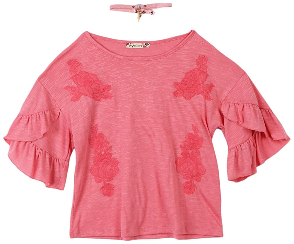 Speechless Girls Big Ruffle Sleeve Knit Top with Necklace
