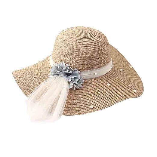 YXINY Sombreros de Sol Capucha Mujer Paja Sombrero de Verano Visera  Sombrero Sombrero Playa Sombrero Perla Red Ovillo Big Brim Sunscreen azul  marino  ... 019a10ff3bb9