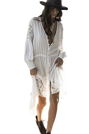 dbed871aa72 Kimono White lace Kimono White Duster Open Front Embroidered lace Kimono  Cardigan for Women (One