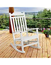 Flash Furniture Winston All-Weather Rocking Chair in White Faux Wood