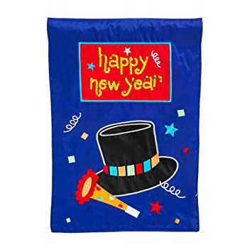 Amazoncom Happy New Year Embellished Applique Garden Flag